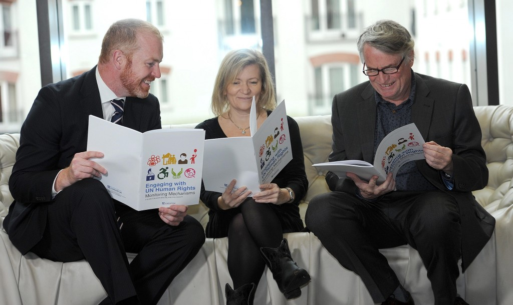 Human Rights Consortium - Publication Launch - Mac Belfast 15th October 2014 Presseye Declan Roughan Human Rights Consortium publication launch 'Engaging with UN Human Rights Monitoring Mechanisms - A Guide for Northern Ireland Civil Society. (L-R)Kevin Hanratty, Helen Flynn Campaigns and Membership Officer Human Rights Consortium and Les Allamby, Chief Comissioner, NIHRC.