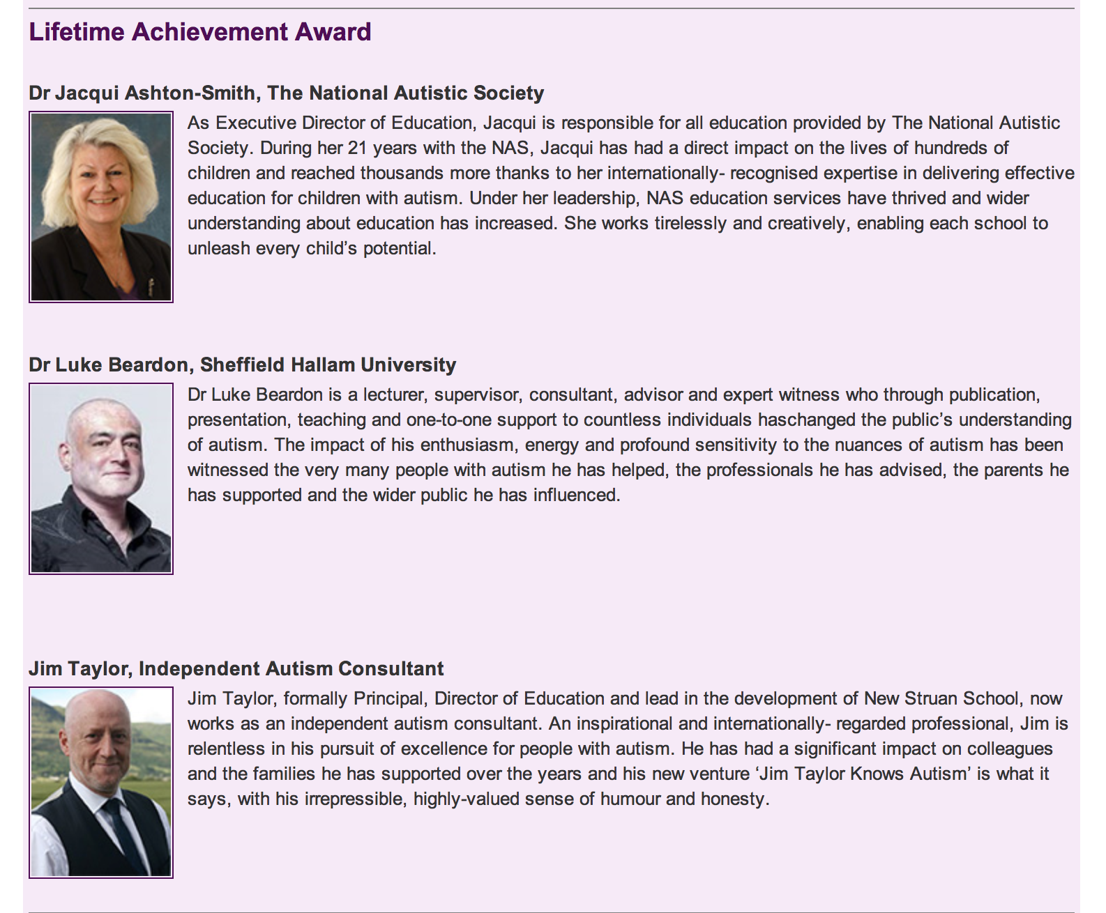 The lifetime achievement nominations by the national autistic society